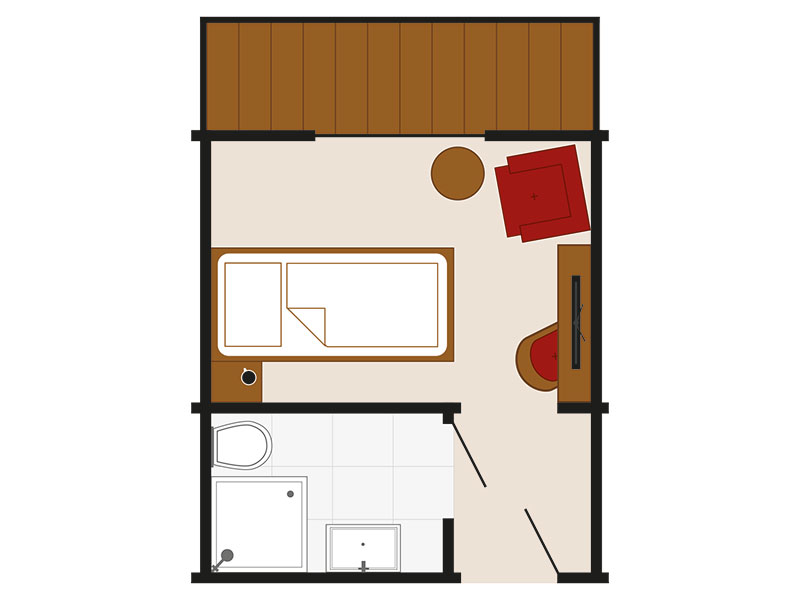 Zimmerskizze – Einzelzimmer Economie Landhaus Style Bichl